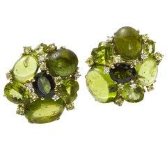 Tourmaline Peridot and Diamond Earrings