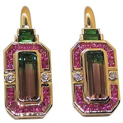 Tourmaline, Pink Sapphire with Tsavorite and Diamond Earrings in 18 Karat