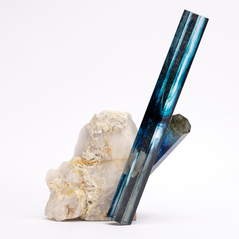 Organic Modern Tourmaline, Quartz and Glass Blue Shade Sculpture For Sale
