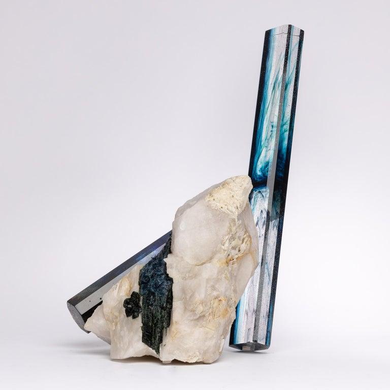 Tourmaline, Quartz and Glass Blue Shade Sculpture For Sale 1