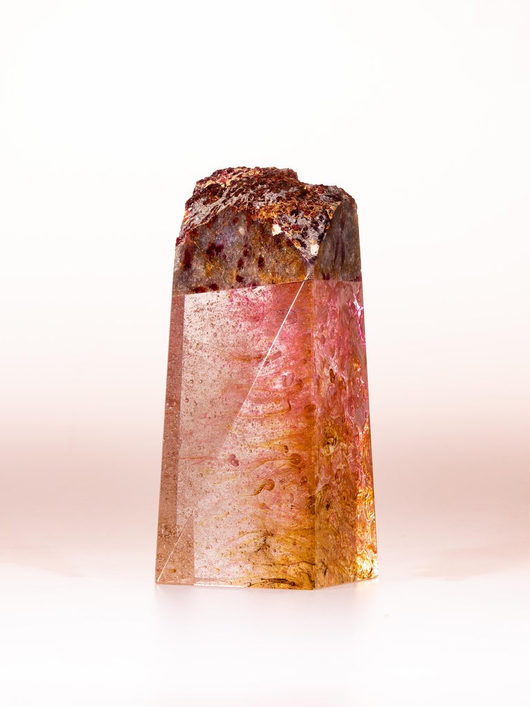 Tourmaline, Quartz and Glass Sculpture, Pretty in Pink 4