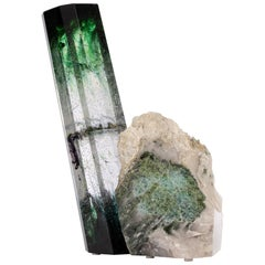 Tourmaline, Quartz and Green shade Glass Sculpture