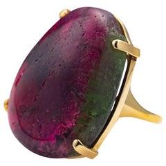 Tourmaline Ring Featuring Impressive Bicolor Cabochon
