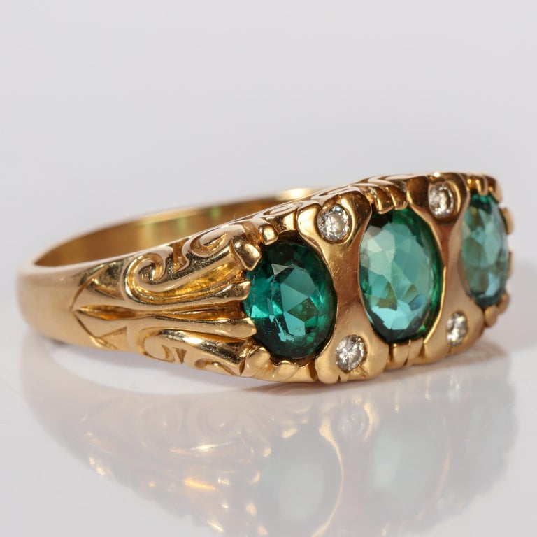 Victorian Tourmaline Ring in Gold With Diamonds  For Sale
