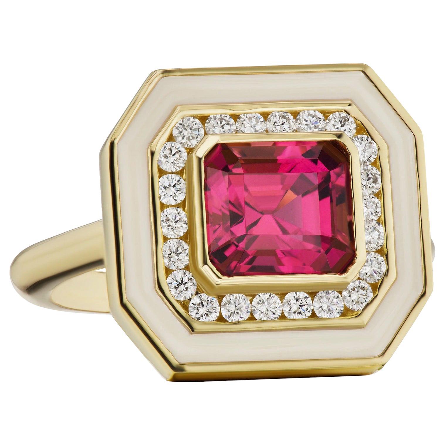 Tourmaline Ring with Diamonds in Cream Enamel Set in 18 Karat Yellow Gold