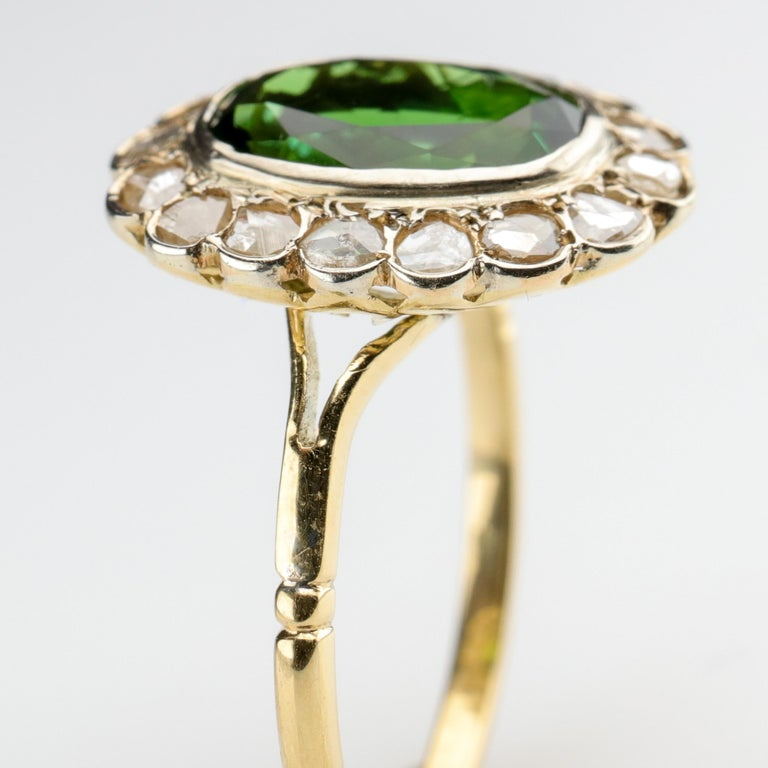 Tourmaline Ring with Early Diamonds French Antique For Sale 4