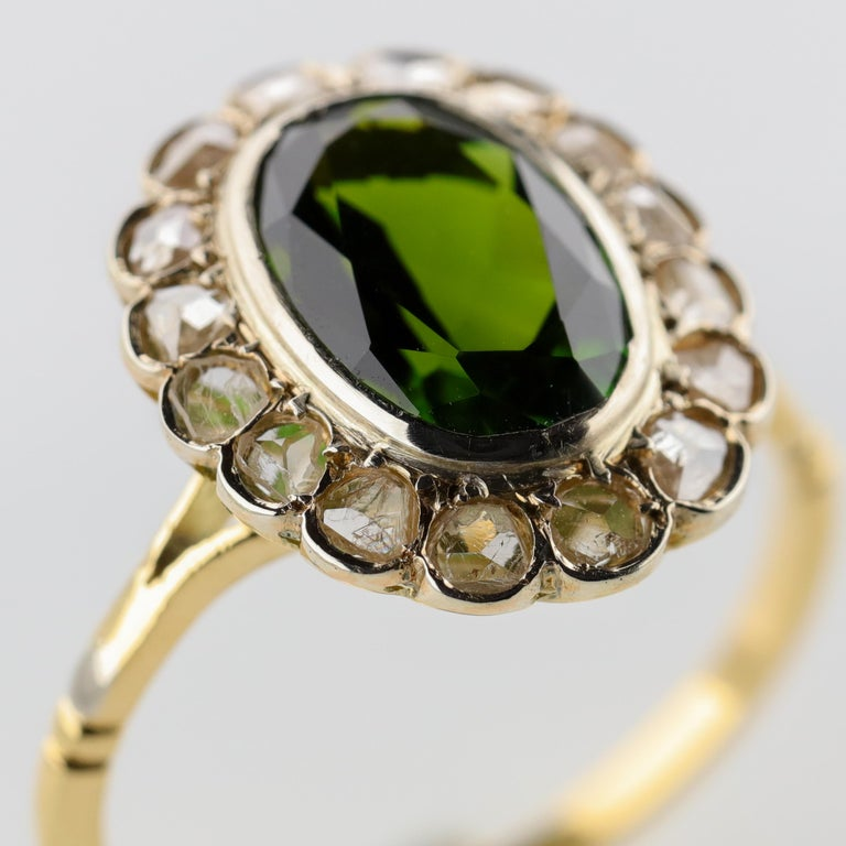 Tourmaline Ring with Early Diamonds French Antique For Sale 5
