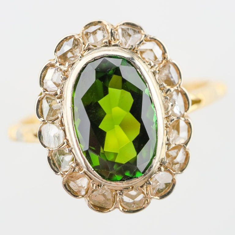 Tourmaline Ring with Early Diamonds French Antique For Sale 6