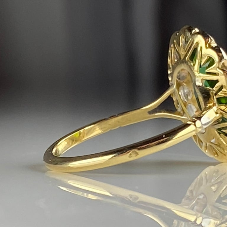 Tourmaline Ring with Early Diamonds French Antique For Sale 7