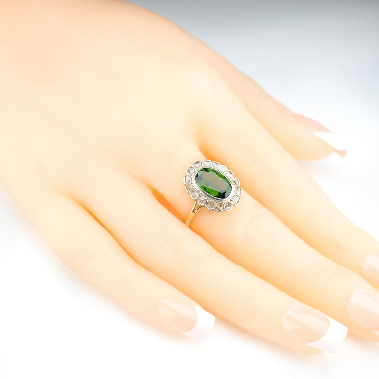 Tourmaline Ring with Early Diamonds French Antique For Sale 8