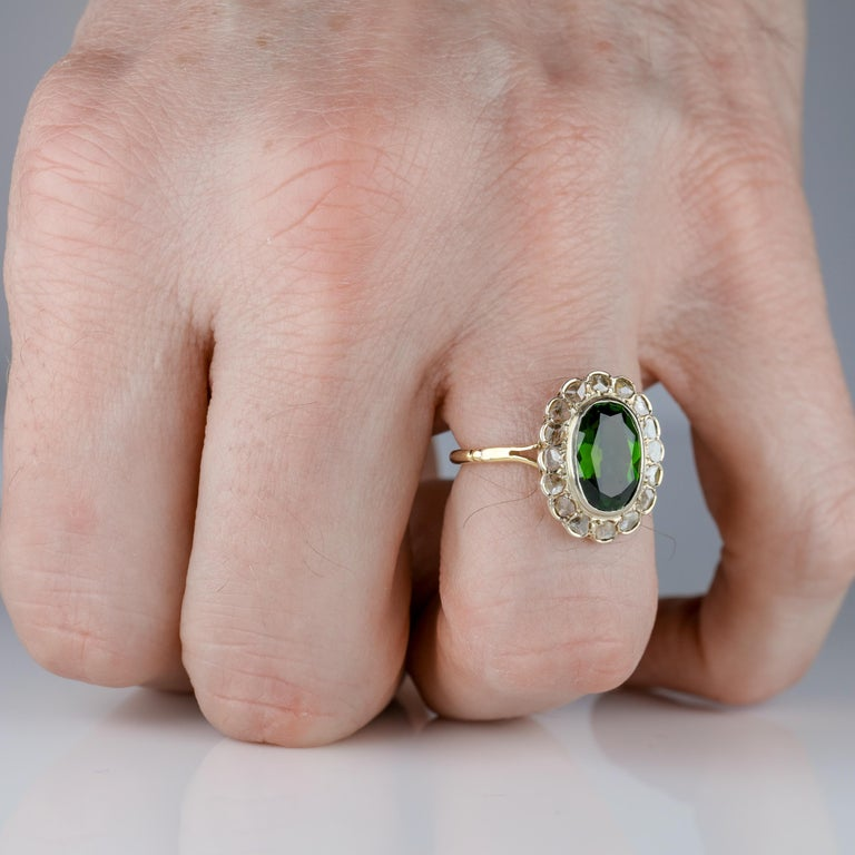 Tourmaline Ring with Early Diamonds French Antique For Sale 9