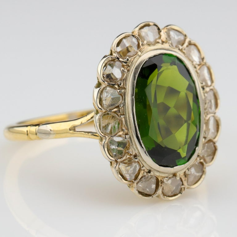 Victorian Tourmaline Ring with Early Diamonds French Antique For Sale