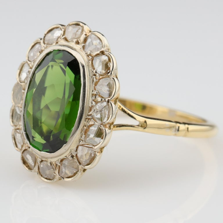 Oval Cut Tourmaline Ring with Early Diamonds French Antique For Sale