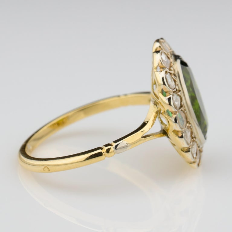 Tourmaline Ring with Early Diamonds French Antique In Excellent Condition For Sale In Southbury, CT
