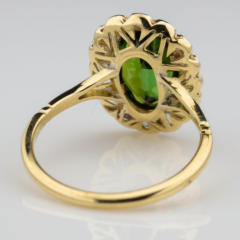 Women's or Men's Tourmaline Ring with Early Diamonds French Antique For Sale