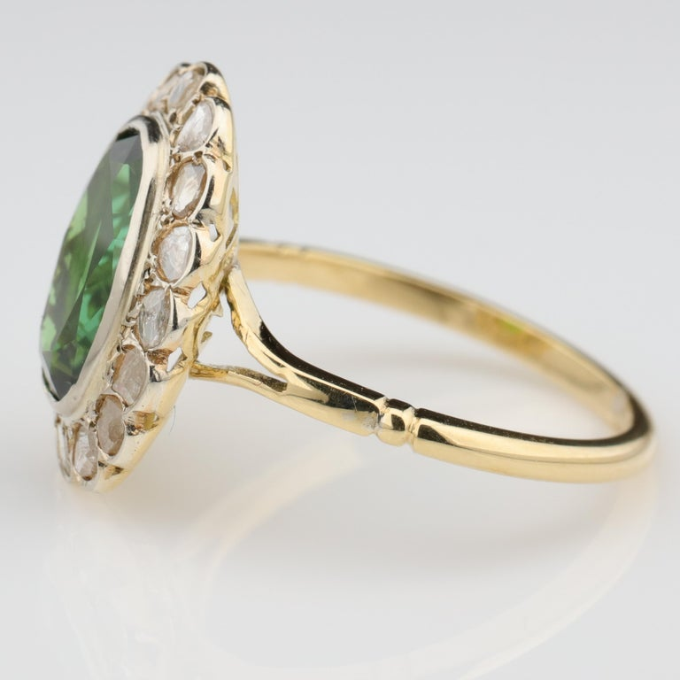 Tourmaline Ring with Early Diamonds French Antique For Sale 1