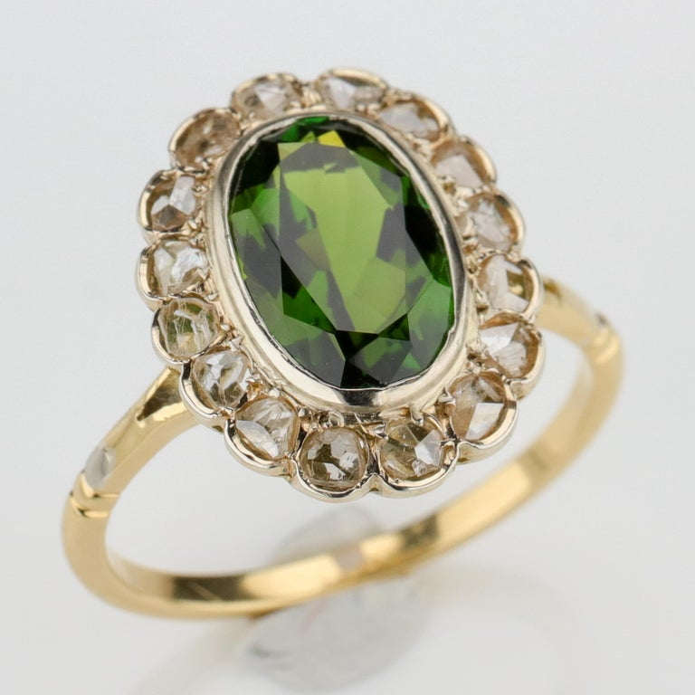 Tourmaline Ring with Early Diamonds French Antique For Sale 2
