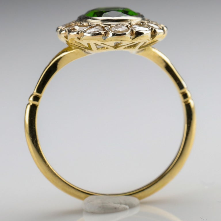 Tourmaline Ring with Early Diamonds French Antique For Sale 3