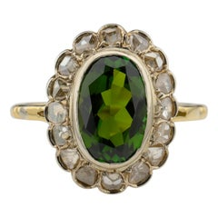 Tourmaline Ring with Early Diamonds French Antique