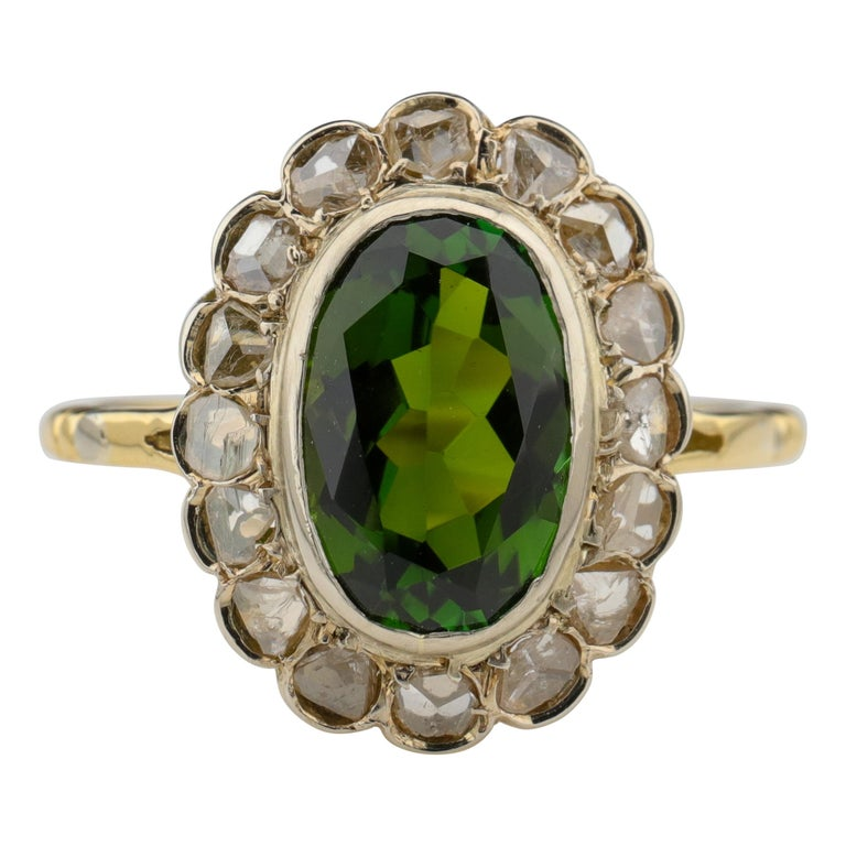 Tourmaline Ring with Early Diamonds French Antique For Sale