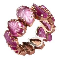 Tourmaline Rose 18 Karat Gold Leaf Ring