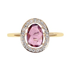 Pink Sapphire Rose Cut Ring with Diamond Halo Setting, 18k Yellow Gold