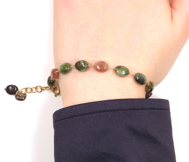 Contemporary Tourmaline Rose Gold Bracelet Handcrafted in Italy by Botta Gioielli For Sale