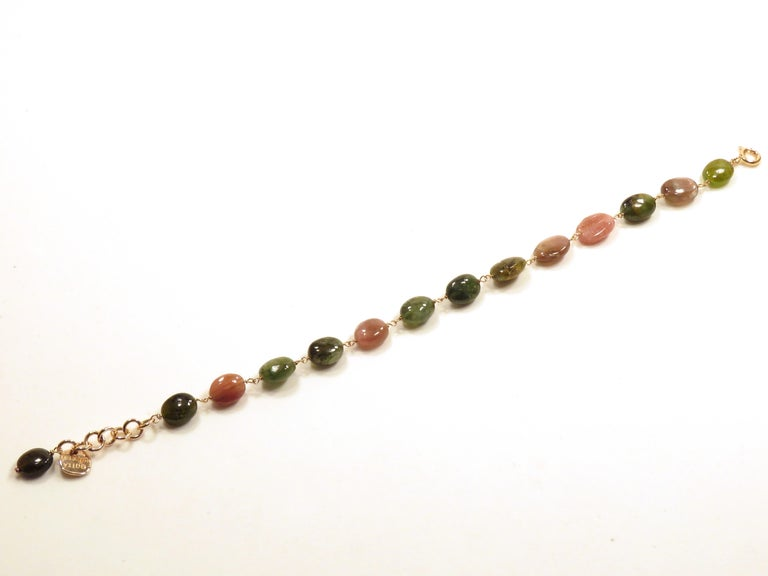 Women's or Men's Tourmaline Rose Gold Bracelet Handcrafted in Italy by Botta Gioielli For Sale
