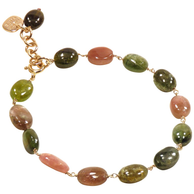 Tourmaline Rose Gold Bracelet Handcrafted in Italy by Botta Gioielli For Sale