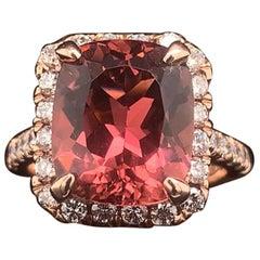 Tourmaline Rubellite Diamond Ring 14 Karat 7.45 Carat Certified