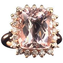 Tourmaline Rubellite Diamond Ring 14k Rose Gold 7.45 TCW Certified