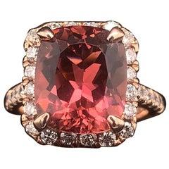Tourmaline Rubellite Diamond Ring 14k Yellow Gold 7.45 TCW Certified