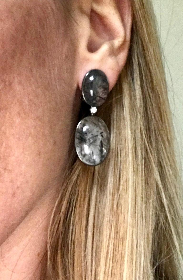 Tourmaline, Rutilated Quartz and Diamonds on Gold 18 Karat Chandelier Earrings For Sale 6