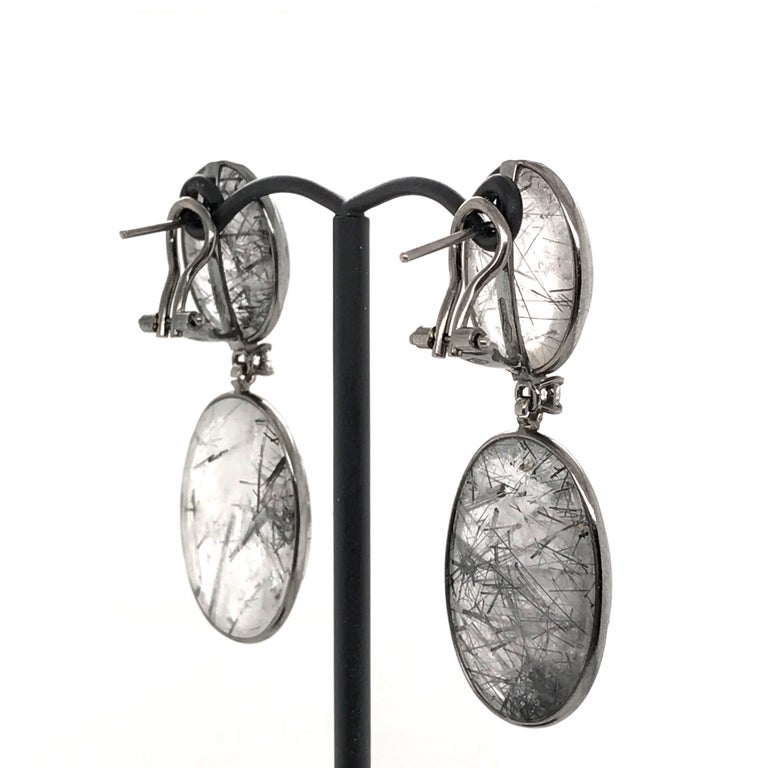 Women's Tourmaline, Rutilated Quartz and Diamonds on Gold 18 Karat Chandelier Earrings For Sale