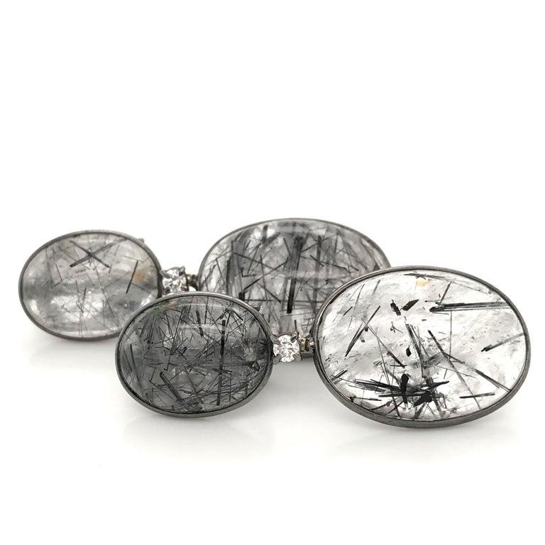 Tourmaline, Rutilated Quartz and Diamonds on Gold 18 Karat Chandelier Earrings For Sale 2