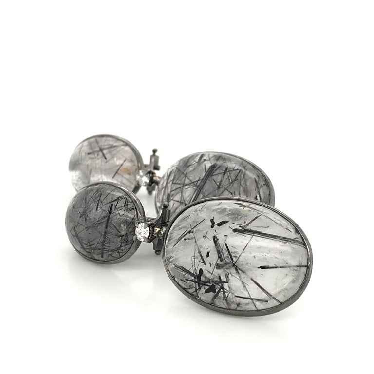 Tourmaline, Rutilated Quartz and Diamonds on Gold 18 Karat Chandelier Earrings For Sale 3