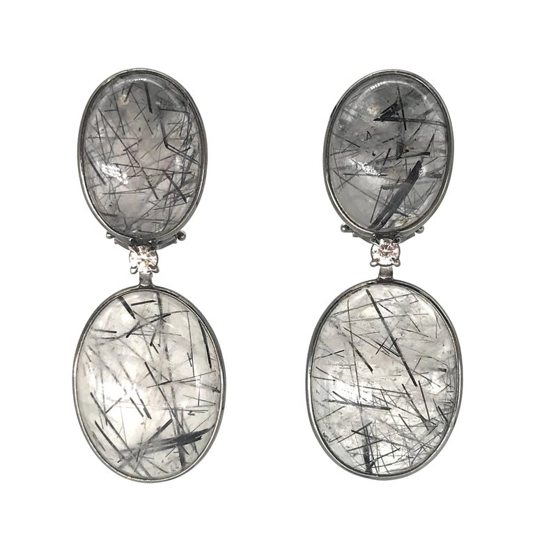 Tourmaline, Rutilated Quartz and Diamonds on Gold 18 Karat Chandelier Earrings For Sale