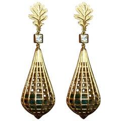 Tourmaline Sapphire 18 Karat Gold Cage Earrings
