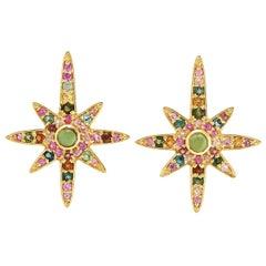 Tourmaline Sapphire 18 Karat Gold Diamond Star Stud Earrings