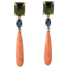 Tourmaline, Sapphire, Coral and Diamond on Yellow Gold 18 Ct Chandelier Earrings
