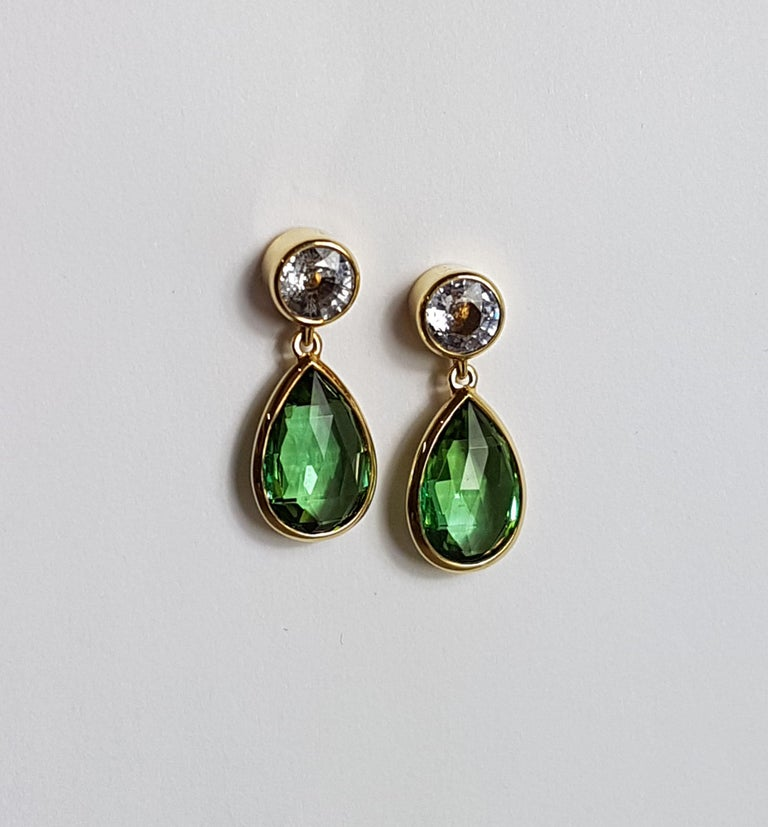 Tourmaline Sapphire Gold Earrings Wagner Collection In New Condition For Sale In Berlin, DE