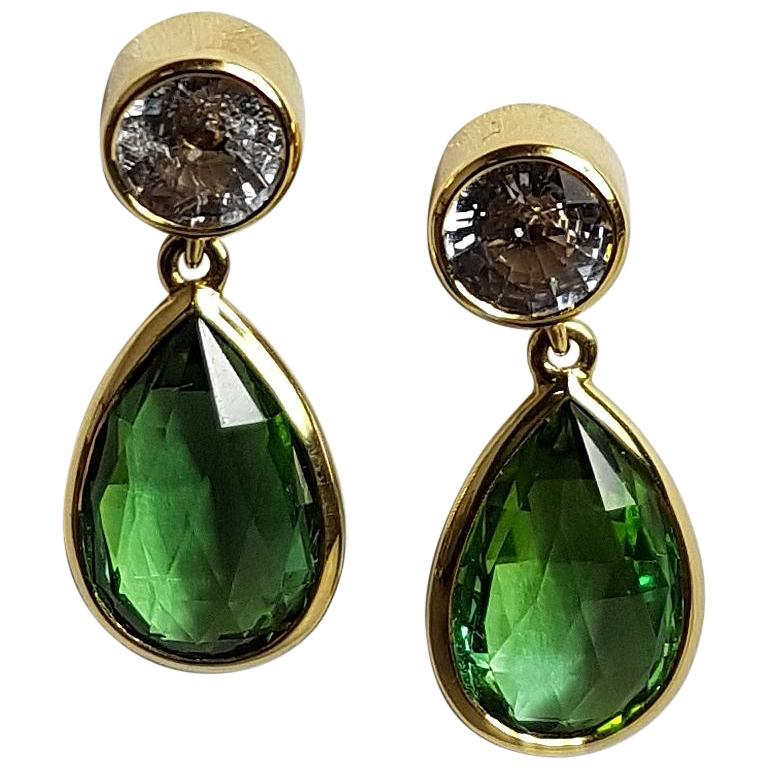 Tourmaline Sapphire Gold Earrings Wagner Collection For Sale
