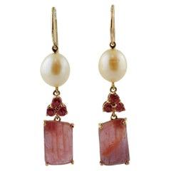 Tourmaline, Sapphires, Pearls, 14 Karat Rose Gold Dangle Earrings