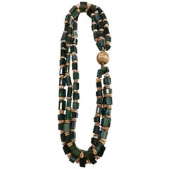 Tourmaline Silver Gold-Plated Clasp Necklace