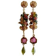 Tourmaline Slices Long Tourmaline Cluster Earrings, Tatiana IV Earrings