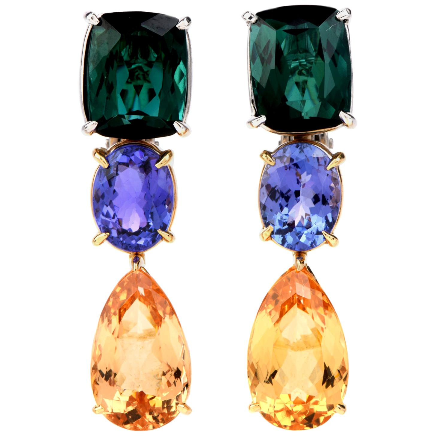 Tourmaline Tanzanite and Imperial Topaz 18 Karat Gold Drop Dangle Earrings