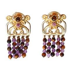 Tourmaline Tiger Eyes 18 Karat Gold Fringe Etrusco Earrings