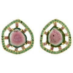 Tourmaline Tsavorite Diamond 18 Karat Gold Stud Earrings