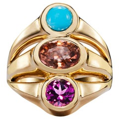 Tourmaline, Turquoise and Garnet Statement Ring
