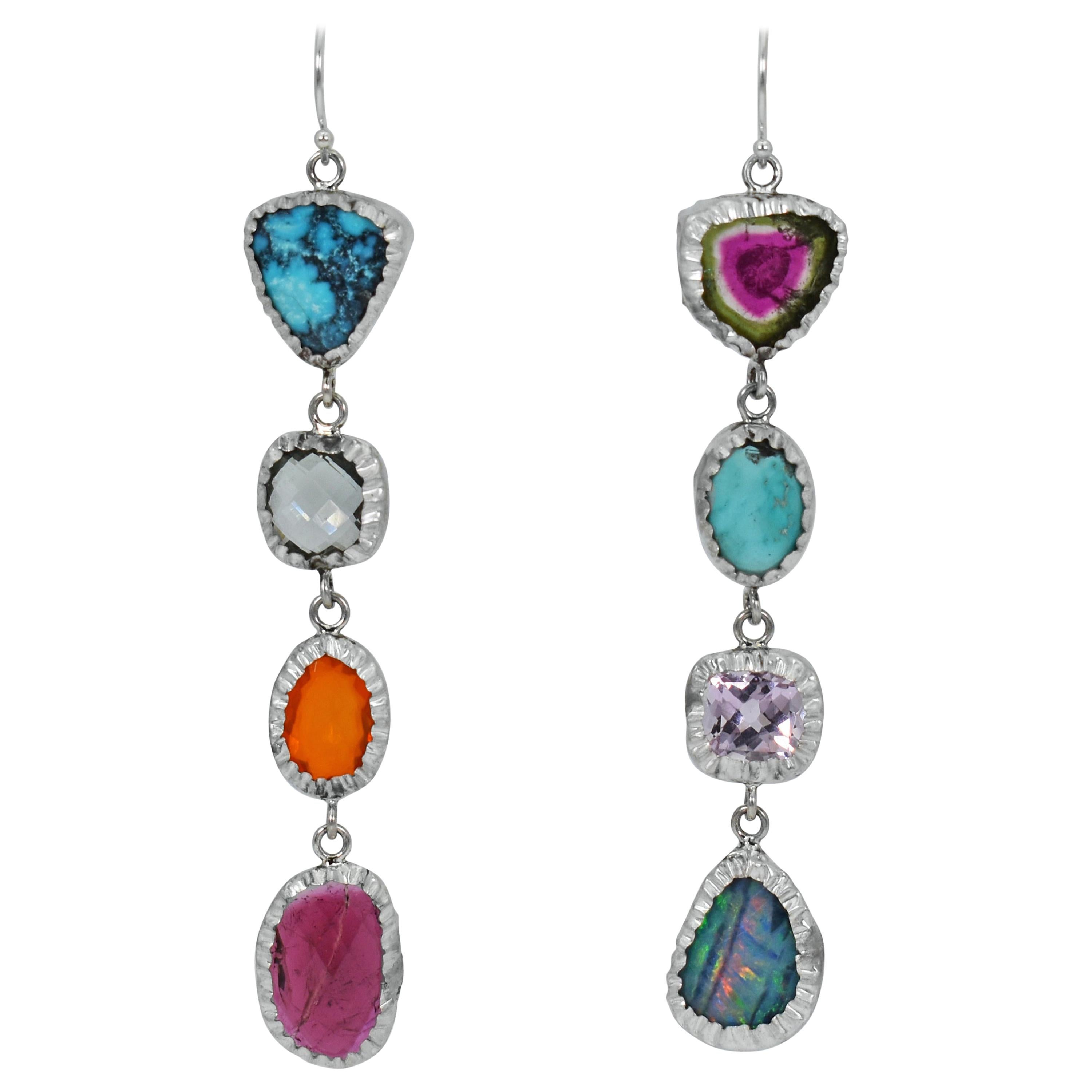 Tourmaline, Turquoise and Opal Sterling Silver Asymmetrical Dangle Earrings
